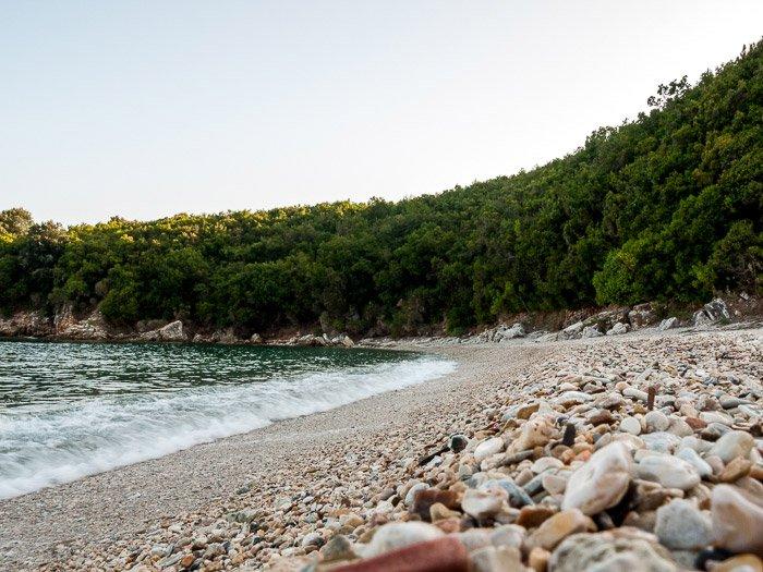 Waves breaking on the shore of Avlaki beach (Kerkyra, Greece), using motion blur in the waves