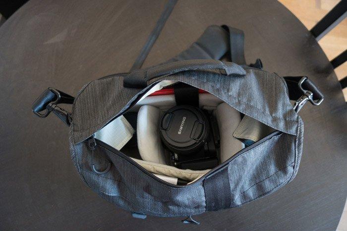 The inside of the Tenba Messenger Camera Bag
