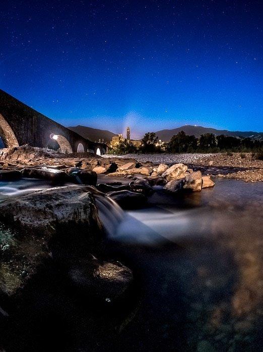 Silky motion blur in the Rapids under the Devil's bridge in Bobbio, Italy