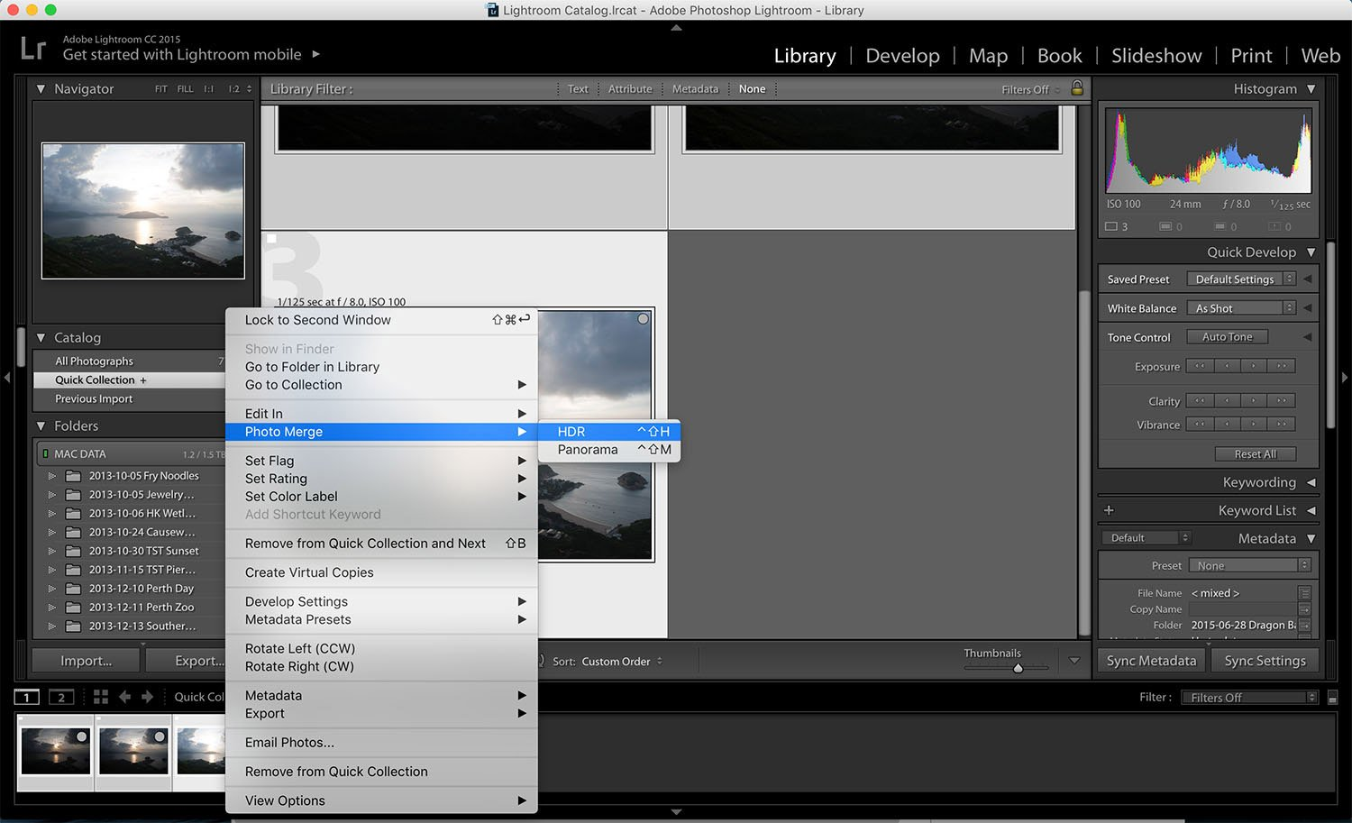 Lightroom is perfect for processing - HDR software