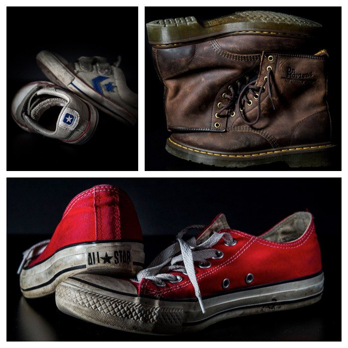 Three photo grid showing still life photography of different shoes on black background