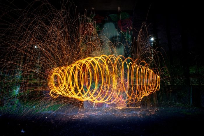 spiral effect created with steel wool photography