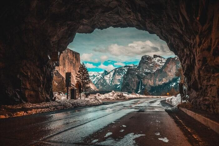 Mountainous landscape shot from a tunnel