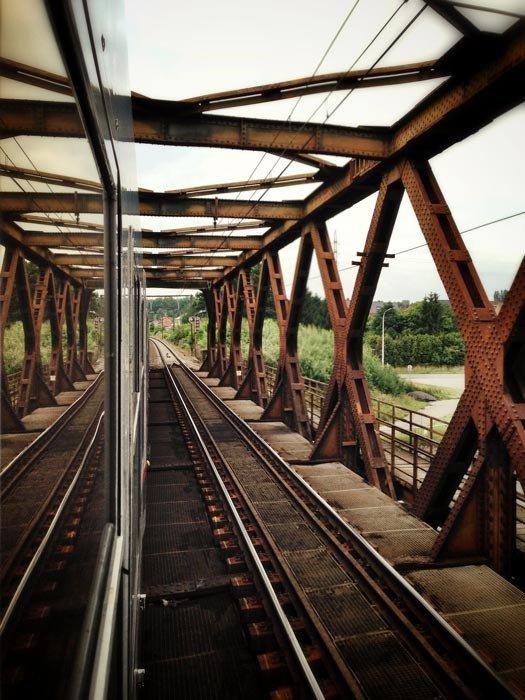 Railroad bridge over a street