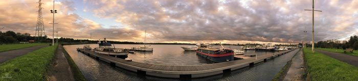 Panorama picture of a port at sunrise