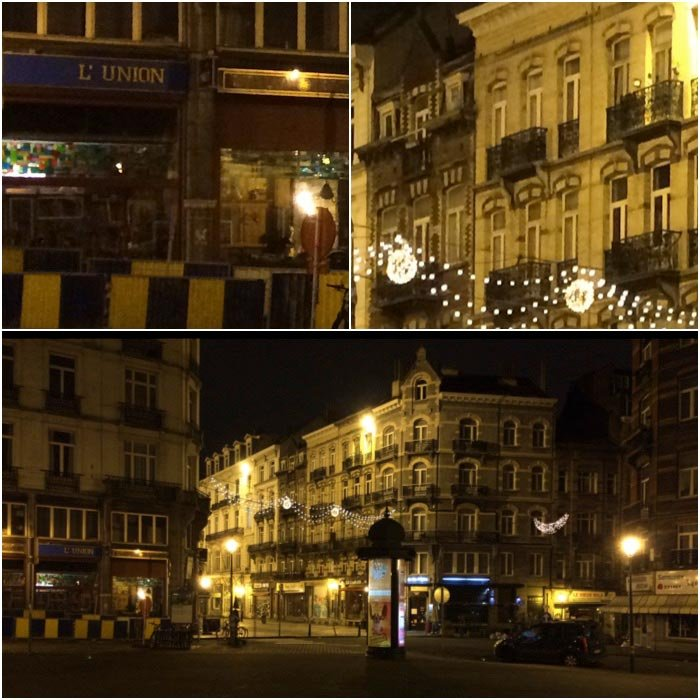 A collage of three pictures taken in the streets of Brussels