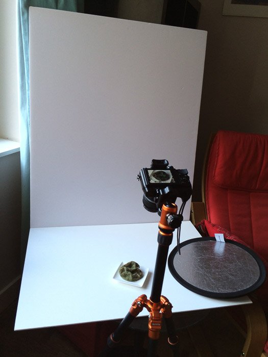 view of a high key set up for still life photography
