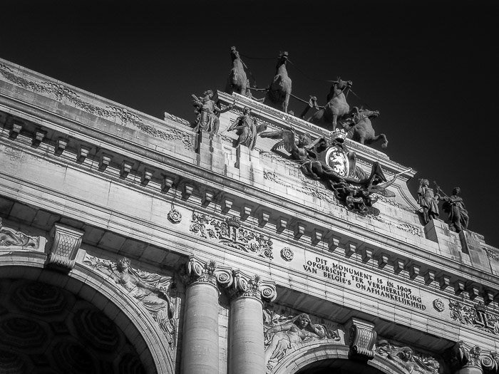 Detail of the Arch of Triumph in the Parc du Cinquantenaire (Brussels, Belgium) shot with infrared photography.