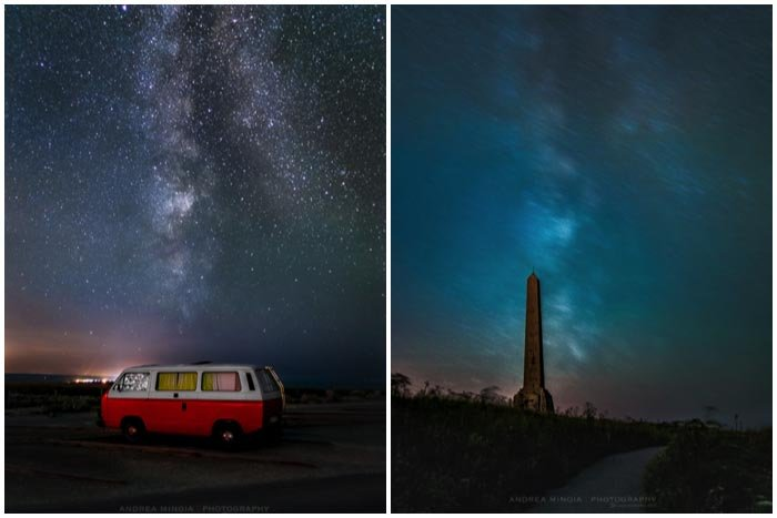 A collage of two pictures taken at night. The first one shows a car at night with the milky way in the background and the other one has an Egyptian style column in the middle with the milky way in the back ground