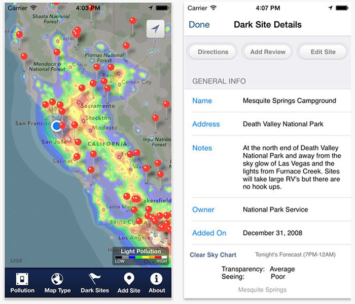 Screenshots from Dark Sky Finder light pollution application for milky way photography