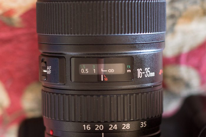 A close up of a large lens