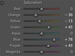 colour saturation sliders lightroom