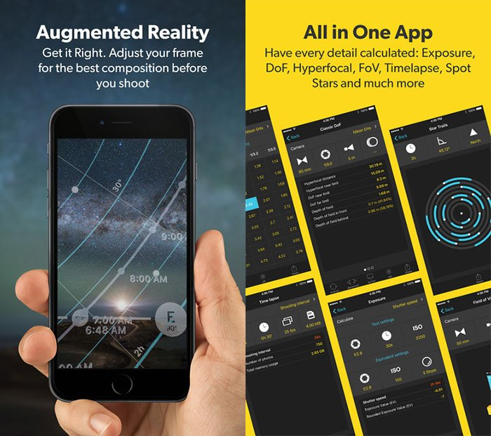 Ads for the PhotoPills app for better milky way photography