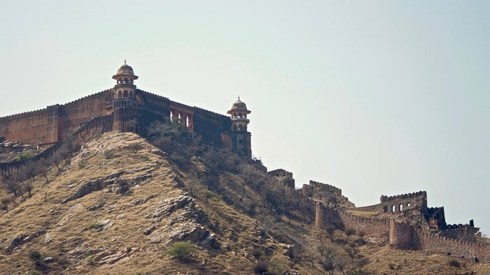 lovely view of a mountain top building at rajasthan - awesome locations for landscape photography