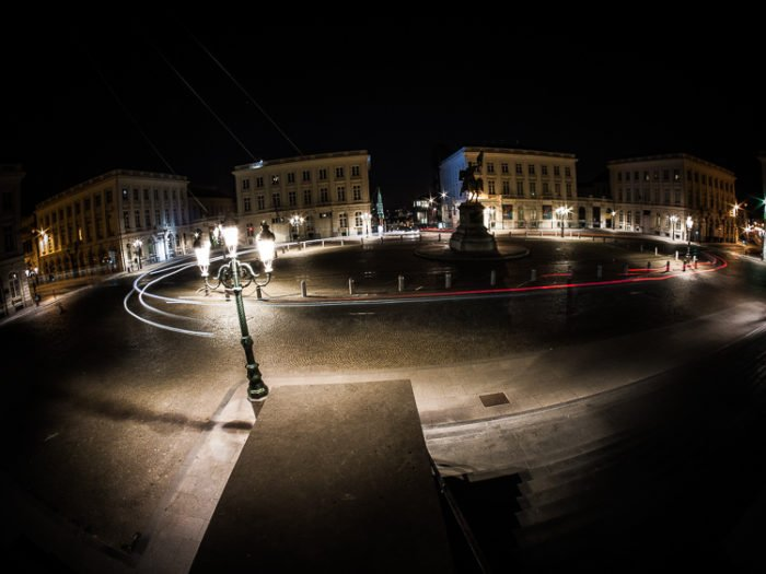 Fisheye Lens Photography: Light trails at night