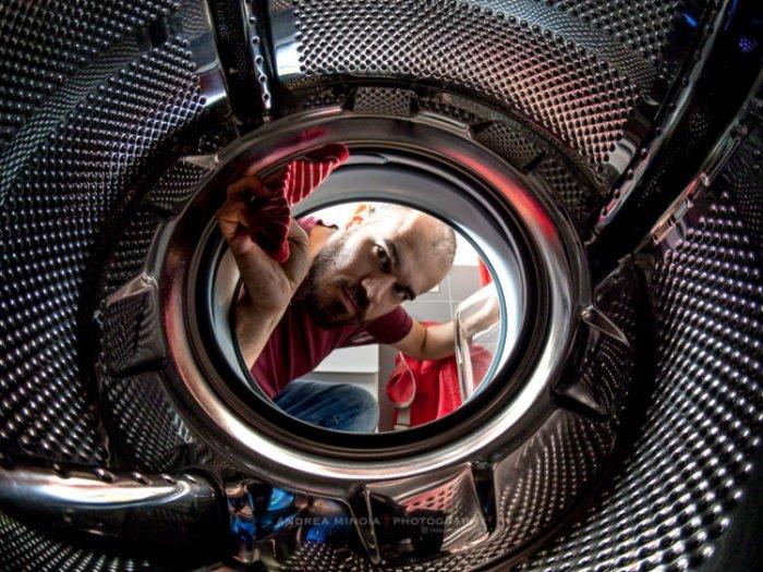 Fisheye Lens Photography: inside-washing-machine view