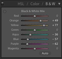Sample Lightroom settings for optimised contrast