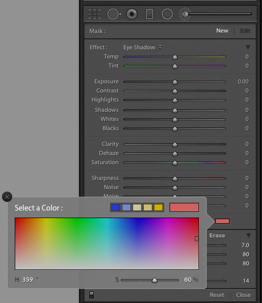 Screenshot of using Lightroom Adjustment Brush colour overlay