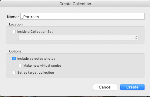 Screenshot of dialogue box for naming Collections in Adobe Lightroom