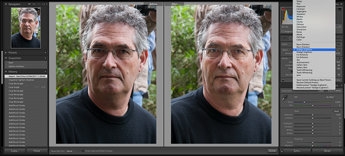Screenshot of using Adjustment Brush in Lightroom to retouch shadows and tones in a portrait