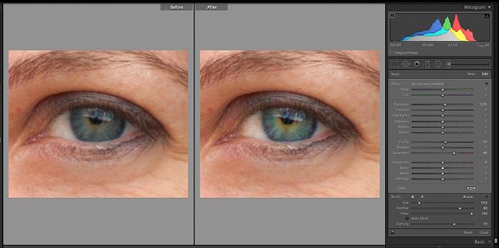 Screenshot of using Adjustment Brush Iris Enhance to edit a portrait in Lightroom