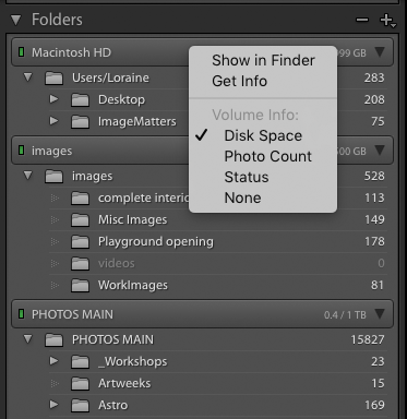 A screenshot of the Folders panel in the Library Module of Adobe Lightroom