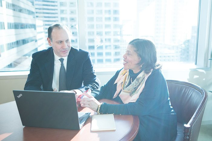 A candid corporate shot of a business metting