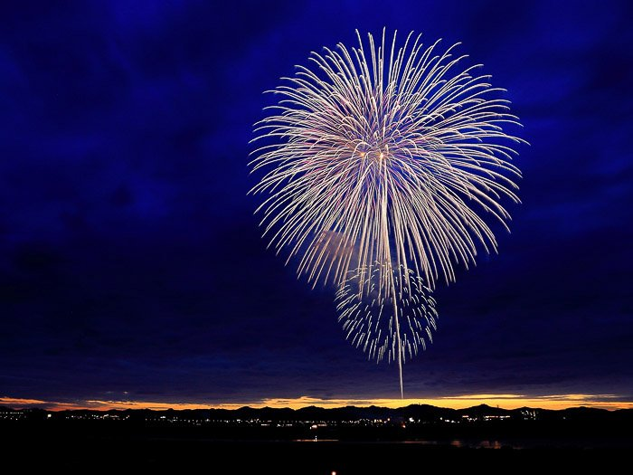 A photograph of a coconut firework bursting against deep blue sky