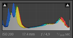 Example histogram of an image containing both bright and dark tones for contrast