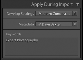 screenshot showing how to import photos into Lightroom - apply during import