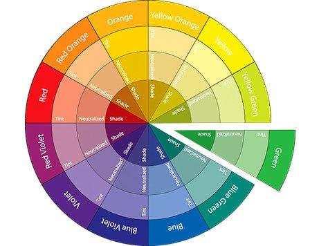 Sample colour wheel, highlighting green tones for Monochrome vs. black and white photography