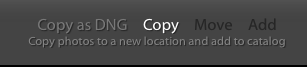 Importing photos into Lightroom: Copy, Copy as DNG, Move, and Add settings