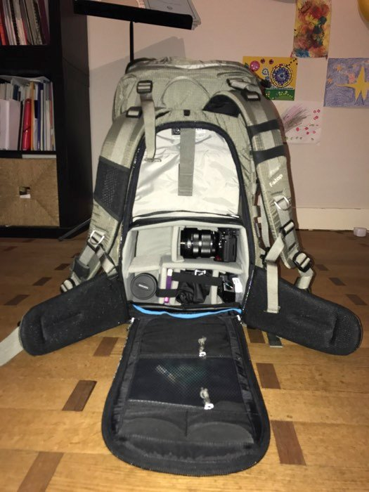 Landscape photography gear: Author's backpack with ICU installed
