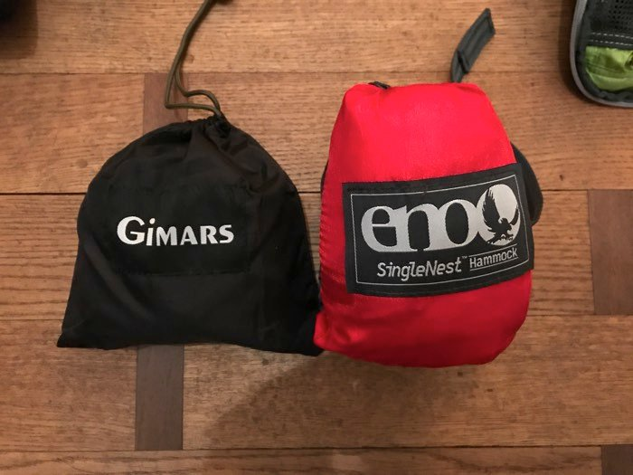 Landscape photography gear: Hammock and tree straps (from author's personal collection), packed