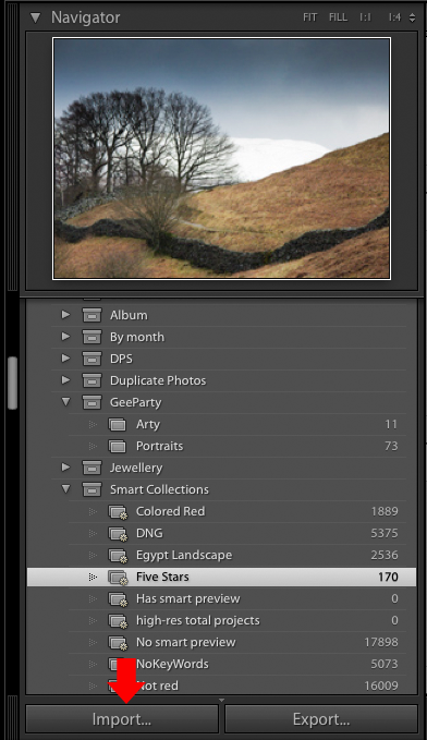 Importing photos into Lightroom: The Import button