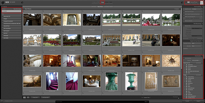Importing photos into Lightroom: The Import dialogue box