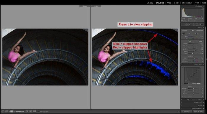 使用lightroom键盘快捷键编辑一个小女孩的照片的屏幕截图,摆在楼梯上