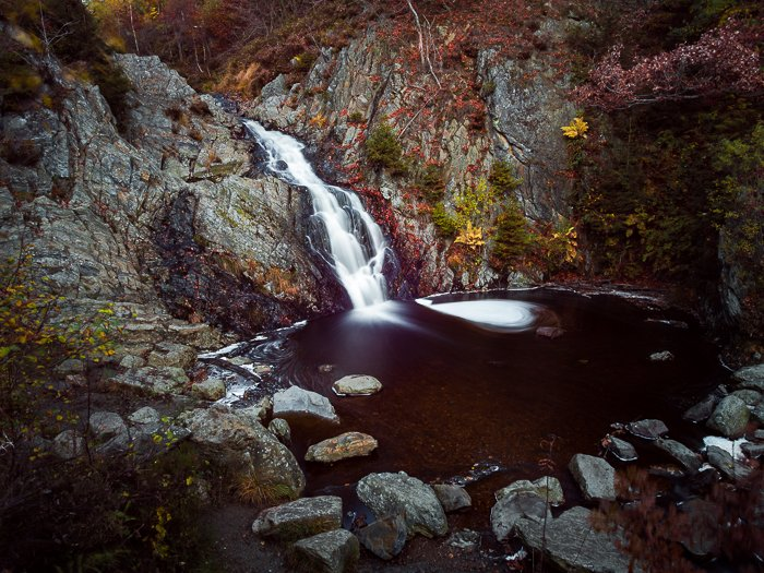 Filters for landscape photography: Example of 10-stop ND filter in use to help blur moving water