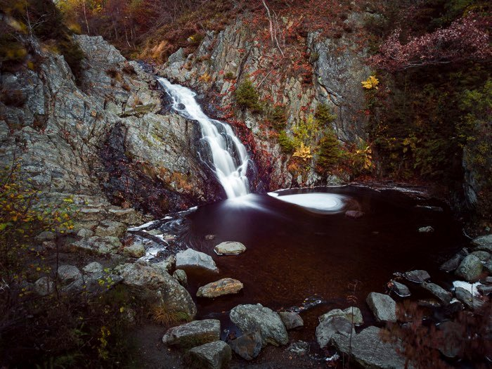 Tripods for Landscape Photography: Photo of Belgian waterfall with motion blur taken with tripod