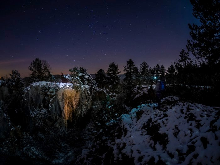 Tripods for Landscape Photography: Winter photo taken at night with tripod