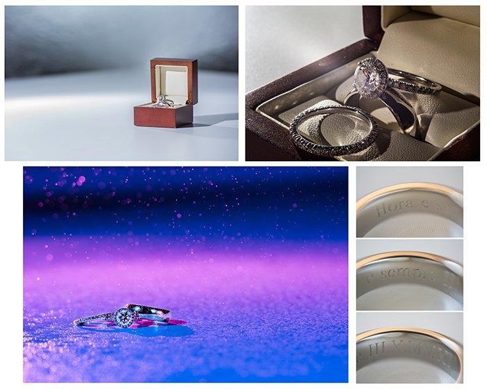 Wedding detail shots: Ring shot collage