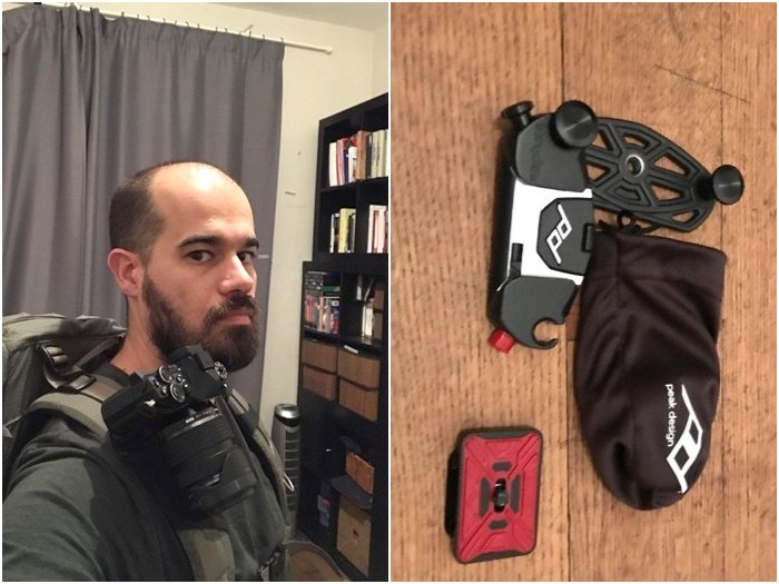 Landscape photography gear: Author demonstrating shoulder strap camera holder