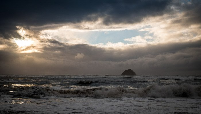 A stunning coastal photography view of islands in low light