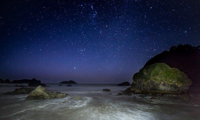 Coastal photography: long-exposure photo of coast at night