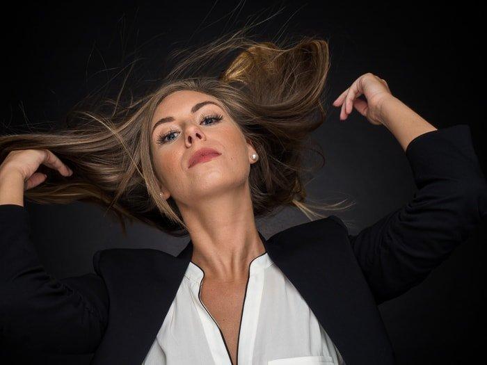 Portrait of woman taken using clamshell lighting pattern