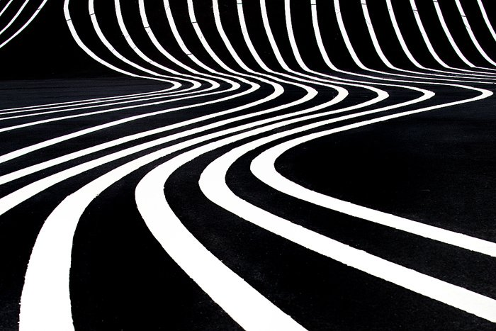 a high-contrast abstract photo of wavy white lines against a black background