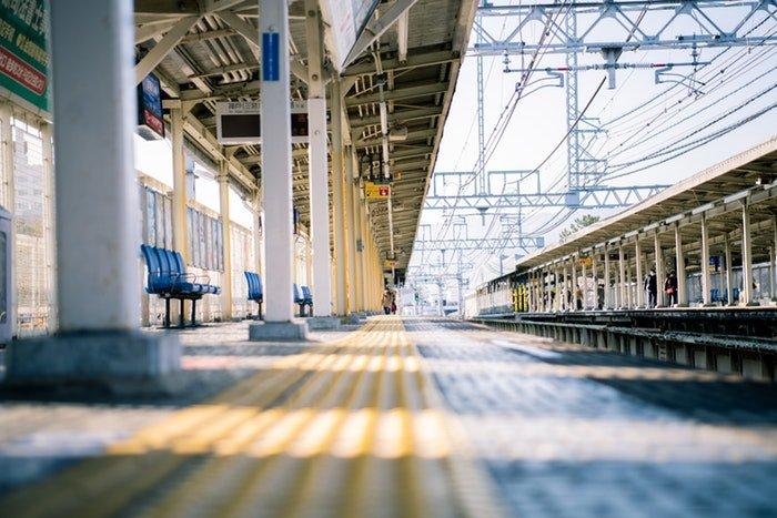 A shot of a railway station platform
