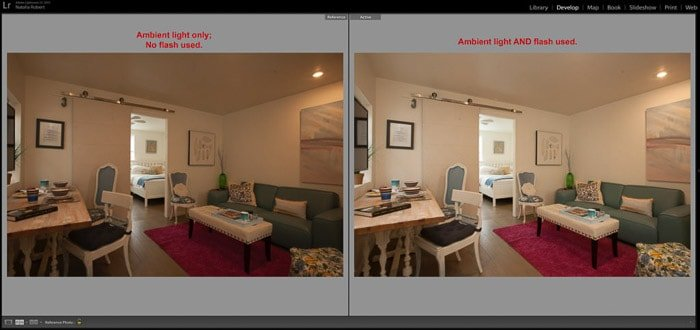 Side-by-side comparison of ambiently-lit room photographed with and without flash