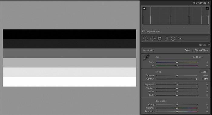 Maximised Contrast Setting Adobe Lightroom