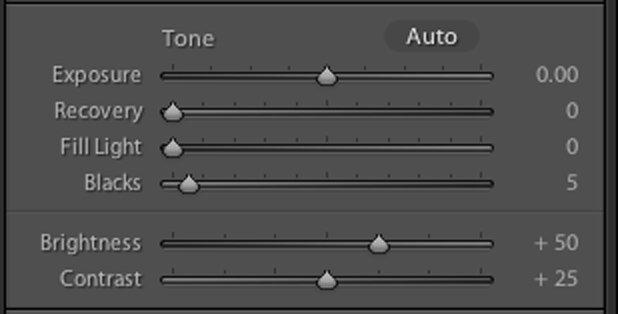 The older tone control sliders in the Adobe Lightroom CC Develop Module